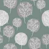 Gray abstract trees seamless background. Vector pattern flora. R Stock Photos