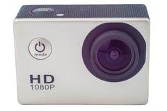 Gray Action-camera op witte achtergrond wordt geïsoleerd die Stock Foto