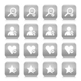 Gray additional sign square icon web button. 16 additional icon set 07. White sign on gray rounded square button with gray reflection, black shadow on white Royalty Free Stock Photo