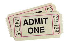 Admit one movie ticket isolated white background close up. Gray admission tickets fully isolated on white Royalty Free Stock Photography