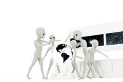 Gray alien. 3d illustration of gray aliens  on white background Royalty Free Stock Image