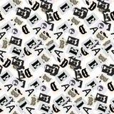 Gray alphabet symbols letter seamless pattern newspaper style. Stock Image