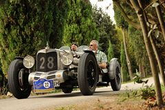 A gray Alvis AL 4.5 takes part to the GP Nuvolari Royalty Free Stock Photo