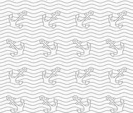 Gray anchors on wavy continues lines Stock Photography