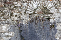 Gray ancient tombstones. Close up photo of gray ancient tombstones Stock Photo