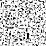 Gray And Black Music Signs On White Background, Seamless Pattern Stock Photography