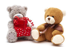 Gray And Brown Teddy Bears Isolated Stock Photo