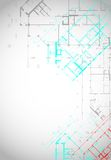 Gray architectural background with building plans stock illustration