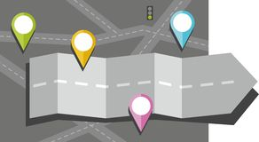 Gray arrow, road, map, route, object, icon, destination, color, flat. Stock Images