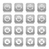 Gray arrow rotation sign square icon web button Royalty Free Stock Photos