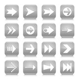 Gray arrow sign rounded square icon web button. 16 arrow icon set 02. White sign on blue rounded square button with gray reflection, black shadow on white Royalty Free Stock Images