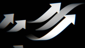 Gray arrows on black background, 3D animation, seamless loop stock footage