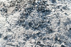 Gray ash from the fire. Background texture of wood ash royalty free stock photo