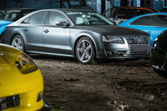 Gray Audi S8 tuning Stock Photography
