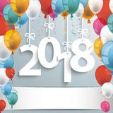 2018 Gray Background Balloons. 2018 with colored balloons on the gray background Royalty Free Stock Image