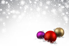 Gray background with Christmas balls. Gray background with colorful Christmas balls and snow. Vector illustration Royalty Free Stock Images