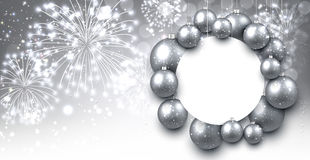 Gray background with Christmas balls. Stock Photo