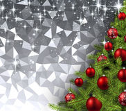 Gray background with Christmas tree. Silver geometric background with Christmas tree. Vector illustration Stock Images