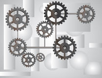 Gray background with the gears Royalty Free Stock Photography