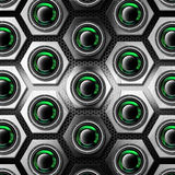 Metal Background with Hexagons and Woofers Royalty Free Stock Photo