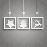 Gray Background Ornaments 3 Frames Christmas. White frames on the gray background royalty free illustration