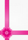Gray background with pink stripes and a flower Stock Photos