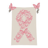 Gray background with ribbon pink symbol of breast cancer with butterflys Royalty Free Stock Photo