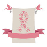 Gray background with ribbon pink symbol of breast cancer with hearts and pigeons Stock Images