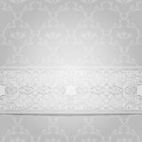 Gray background. Victorian background with white ribbon. Vector illustration Stock Photo