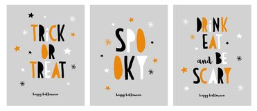 Set of Funny Halloween Cards. Happy Halloween. Trick or Treat. Gray Background. White, Orange and Black Hand Written Letters. Black Happy Halloween. Trick or Vector Illustration