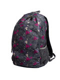 Gray backpack with purple and pink heart shapes Royalty Free Stock Photography