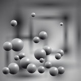 Gray balls in the air on abstract background. Vector illustration royalty free illustration
