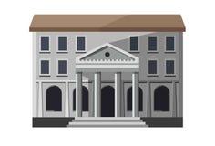 Gray bank building exterior. Vector illustration of a gray bank building entrance Stock Photos
