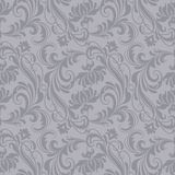 Gray baroque pattern. Gray antique baroque vintage seamless pattern or background Stock Photography