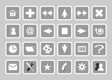 Gray basic web icons Royalty Free Stock Photography