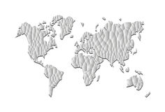 Gray basso poligonale di precisione della mappa di mondo poli Immagini Stock Libere da Diritti