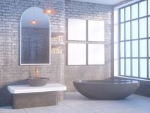 Gray bathroom interior with a concrete floor, a bathtub, a double sink 3d illustration mock up. Gray bathroom interior with a concrete floor, a bathtub, a double Royalty Free Stock Photo