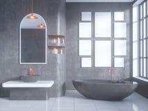 Gray bathroom interior with a concrete floor, a bathtub, a double sink 3d illustration mock up. Gray bathroom interior with a concrete floor, a bathtub, a double Stock Photos