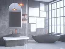Gray bathroom interior with a concrete floor, a bathtub, a double sink 3d illustration mock up. Gray bathroom interior with a concrete floor, a bathtub, a double Stock Photo