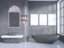 Gray bathroom interior with a concrete floor, a bathtub, a double sink 3d illustration mock up. Gray bathroom interior with a concrete floor, a bathtub, a double Stock Photography