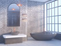Gray bathroom interior with a concrete floor, a bathtub, a double sink 3d illustration mock up. Gray bathroom interior with a concrete floor, a bathtub, a double Stock Images
