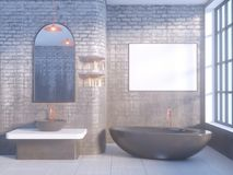 Gray bathroom interior with a concrete floor, a bathtub, a double sink 3d illustration mock up. Gray bathroom interior with a concrete floor, a bathtub, a double Royalty Free Stock Image