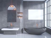Gray bathroom interior with a concrete floor, a bathtub, a double sink 3d illustration mock up. Gray bathroom interior with a concrete floor, a bathtub, a double Royalty Free Stock Photos