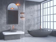 Gray bathroom interior with a concrete floor, a bathtub, a double sink 3d illustration mock up. Gray bathroom interior with a concrete floor, a bathtub, a double Royalty Free Stock Photography
