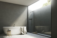 Gray bathroom with a tub, corner Royalty Free Stock Photo