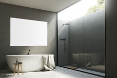 Gray bathroom with a tub and poster, corner Royalty Free Stock Photos