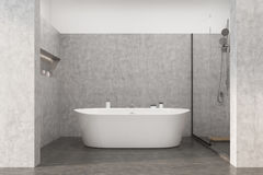 Gray bathroom with a white tub Royalty Free Stock Photography