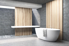 Gray bathroom, white tub, side. Side view of a bathroom interior with gray and wooden walls, a white bath tub and a double sink. 3d rendering vector illustration
