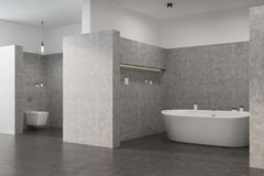 Gray bathroom with a white tub, toilet. Gray bathroom interior with a concrete floor, a white tub, a toilet and an original lamp. Side view. 3d rendering mock up Stock Images