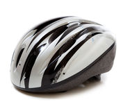 A gray bike helmet on a white background Royalty Free Stock Images